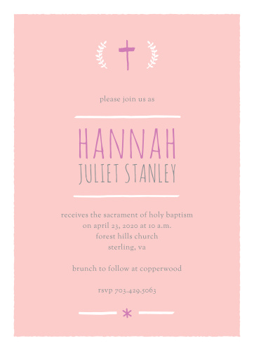 A hand-drawn cross and laurels top the Laurels and Cross Girl Baptism Invitations.