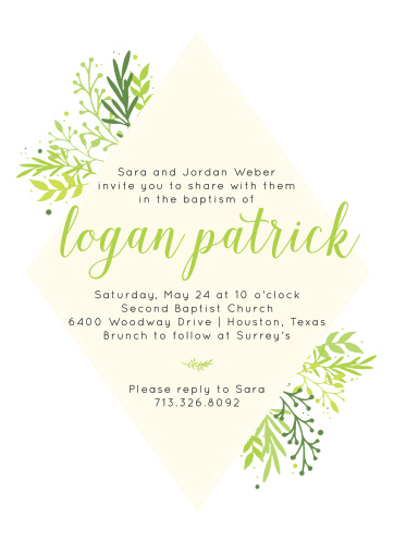 Whimsical foliage bursts from behind a diamond frame on the Diamond Botanic Boy Baptism Invitations.
