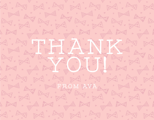 Share your gratitude with the playful pattern of the Busy Bows Girl First Birthday Thank You Cards.