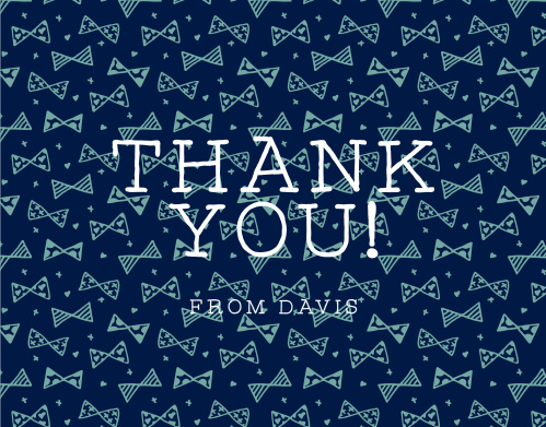 Share your gratitude with the playful pattern of the Busy Bows Boy First Birthday Thank You Cards.