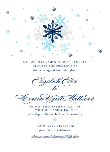 Snowflakes in your wedding colors top the Shimmering Snowflake Wedding Invitations.