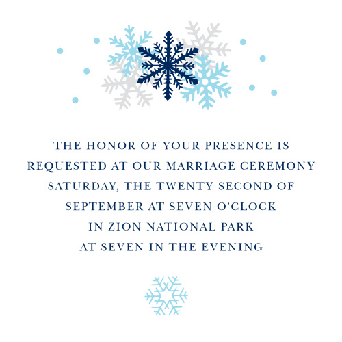 Colorful Snowflakes accent your text on the Shimmering Snowflakes Ceremony Cards.