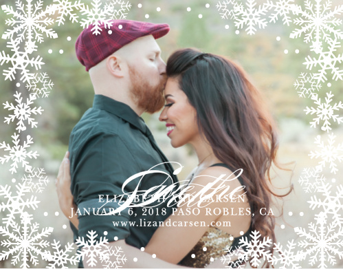 Graceful Snowflakes dust the edges of your photo on the Shimmering Snowflakes Save-the-Date Magnets.