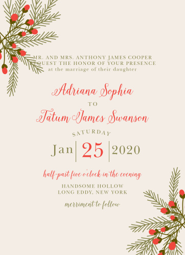 Create an invite to match your rustic winter wedding theme with the Pine Berries Wedding Invitations.