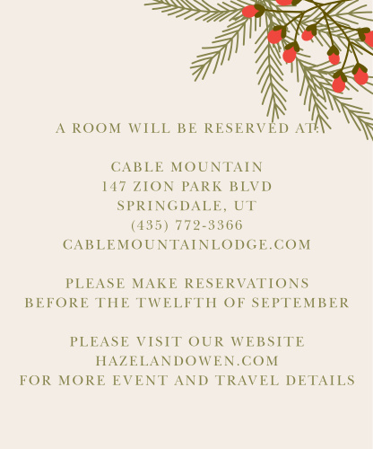Pine boughs and a festive berry bunch adorn the top right corner of the Pine Berries Accommodation Cards.