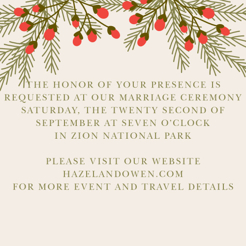 Create a separate invitation to your wedding ceremony with the Pine Berries Ceremony Cards.