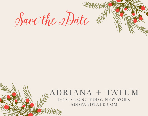 Prepare guests for your rustic winter wedding with the Pine Berries Save-the-Date Cards.