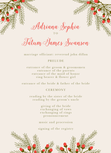 Organize your rustic winter wedding with the Pine Berries Wedding Programs.