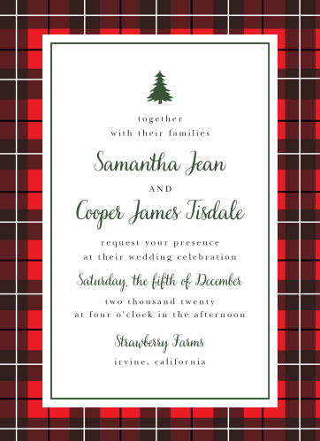Get guests in the mood for your winter-themed wedding with the Cozy Plaid Wedding Invitations.