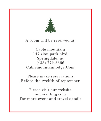 Make sure guests have a warm place to stay before and after festivities with the Cozy Plaid Accommodation Cards.