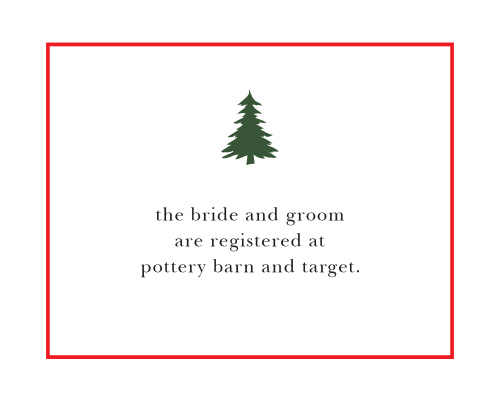 Let guests know where you have registered with the Cozy Plaid Registry Cards.