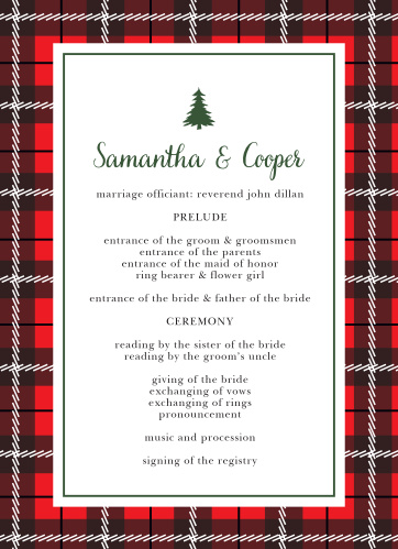Keep your winter-themed wedding on track with the Cozy Plaid Wedding Programs.