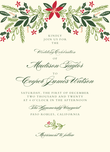 Invite friends and family to your formal winter wedding with the Holiday Bough Wedding Invitations.