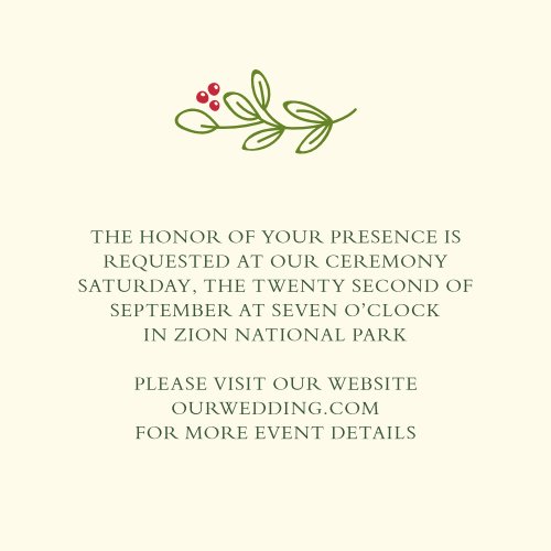 Create custom invites to your ceremony with the Holiday Bough Ceremony Cards.