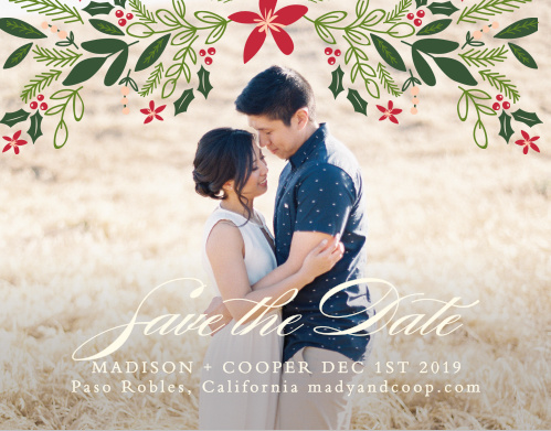 An illustration of festive foliage crowns your photo on the Holiday Bough Save-the-Date Cards.