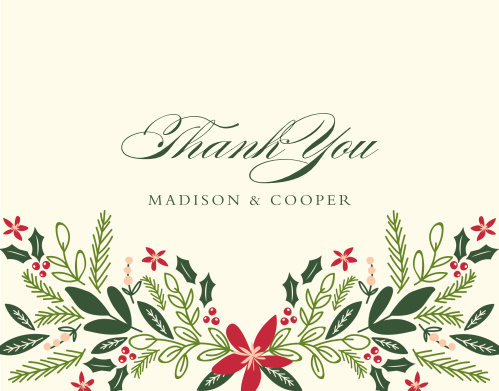 Share your gratitude with the festive foliage of the Holiday Bough Thank You Cards.