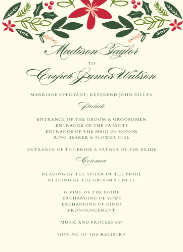 Keep your formal winter wedding organized with the Holiday Bough Wedding Programs.