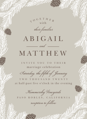 Rustic boughs and pinecones surround your text on the Pretty Pinecones Wedding Invitations.