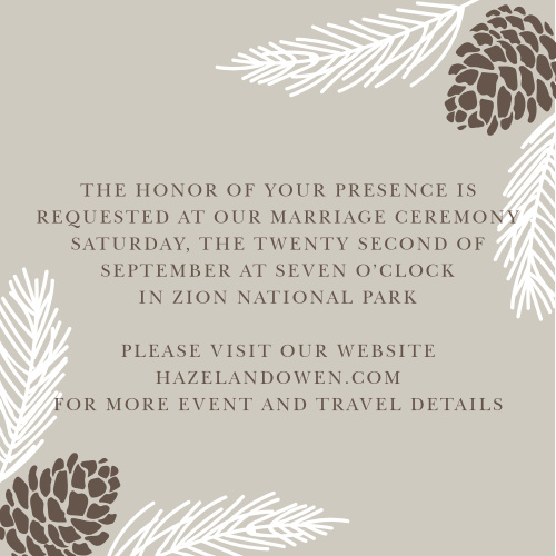 Rustic pine boughs and pinecones accent your text on the Pretty Pinecones Ceremony Cards.