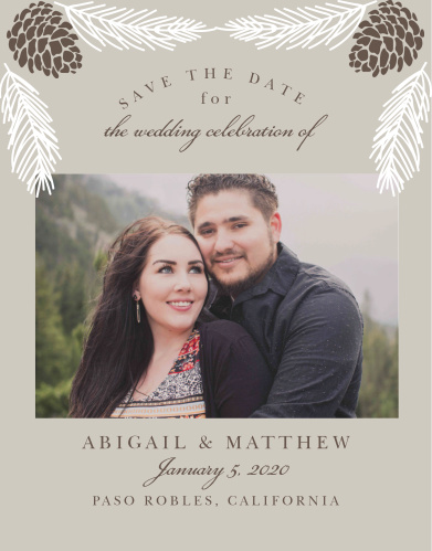 Announce your winter wedding with the Pretty Pinecones Save-the-Date Cards.