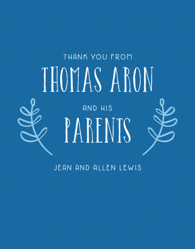 Your son's name is accented by hand-drawn laurels on the Fun Flower Boy Baptism Thank You Cards.