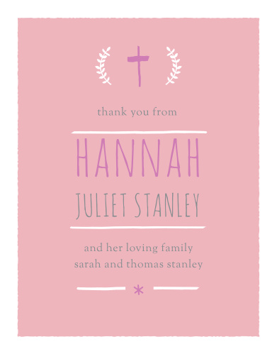 The Laurels and Cross Girl Baptism Thank You Cards are a thoughtful way to thank the friends and family who attended your son's baptism or christening.