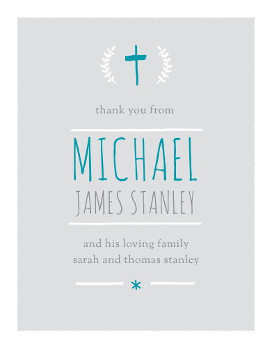 The Laurels and Cross Boy Baptism Thank You Cards are a thoughtful way to thank the friends and family who attended your son's baptism or christening.