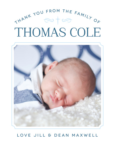 Match your thank you cards to your baptism invitations with the Classic Cross Boy Baptism Thank You Cards.