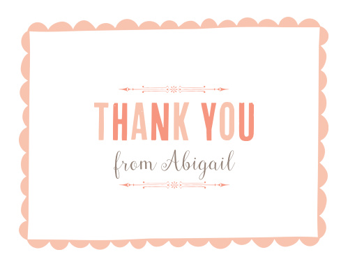 Share your appreciates for the friends and family who celebrated with you using the elegant typefaces of the Scallops and Script Girl Baptism Thank You Cards.
