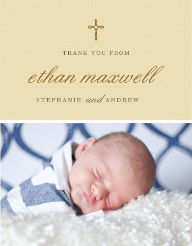 Design a thank you card using your son's photo with the Tiny Cross Boy Baptism Thank You Cards.