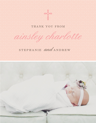 Design a thank you card using your daughter's photo with the Tiny Cross Girl Baptism Thank You Cards.