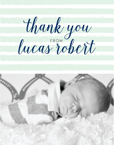 Design the Brushed Stripes Boy Baptism Thank You Cards with a photo of your little leading man at the bottom.