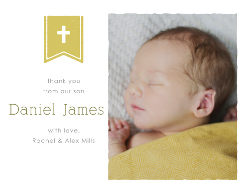 The Banner and Cross Boy Thank You Cards perfectly complement the Banner and Cross Boy Baptism Invitations.