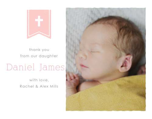 The Banner and Cross Girl Thank You Cards perfectly complement the Banner and Cross Girl Baptism Invitations.