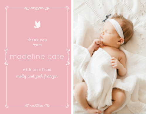 Share your daughter's photo with the Dovey Scrolls Boy Thank You Cards.