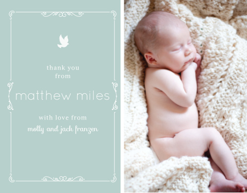 Share your son's photo with the Dovey Scrolls Boy Thank You Cards.