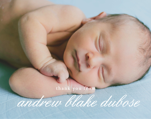 You son's beautiful photo fills the Stacked Text Boy Thank You Cards.