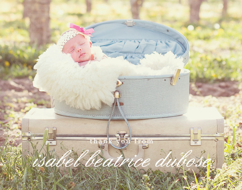 You daughter's beautiful photo fills the Stacked Text Boy Thank You Cards.