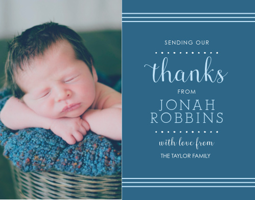 Thank all the friends and family who celebrated your child's baptism or christening with the Polka Dot Border Boy Thank You Cards.