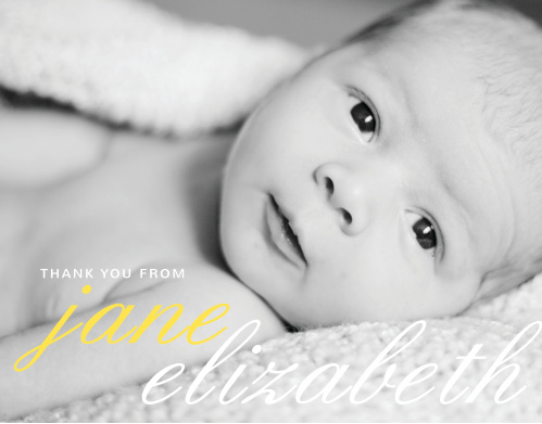 Use your child's photo as the background to the La Moderne Thank You Cards.