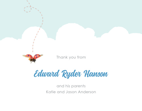 Write your son's name in the sky of the Baby Bug Boy Baptism Thank You Cards.