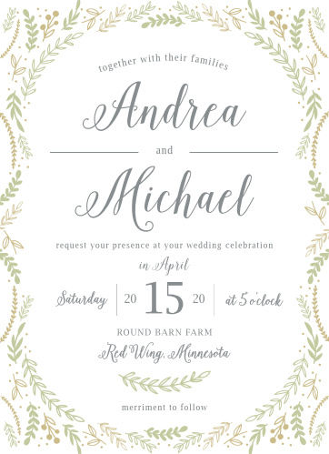 Whimsical greenery surrounds your text on the Romantic Evergreen Wedding Invitations.