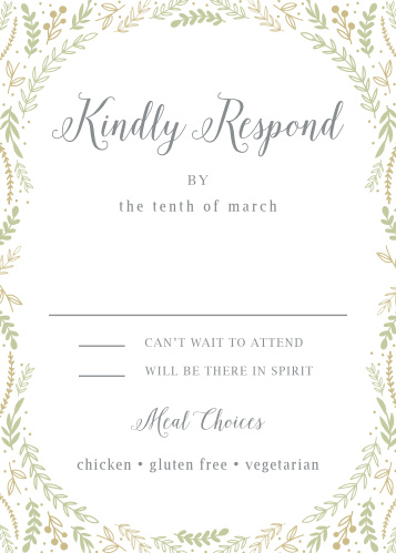 Collect RSVPs for your whimsical winter wedding with the Romantic Evergreen Response Cards.