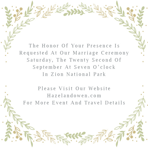 A border of graceful greenery accent your text on the Romantic Evergreen Ceremony Cards.