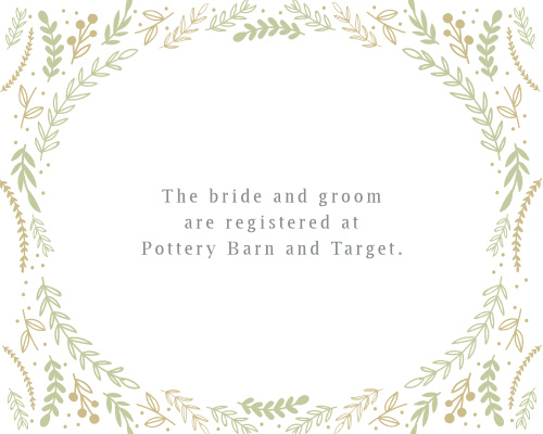 Include the Romantic Evergreen Registry Cards in your whimsical wedding invitation suite.