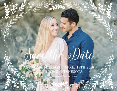 Whimsical greenery surrounds your photo on the Romantic Evergreen Save-the-Date Cards.