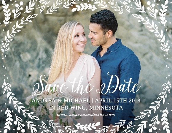 Whimsical greenery surrounds your photo on the Romantic Evergreen Save-the-Date Magnets.
