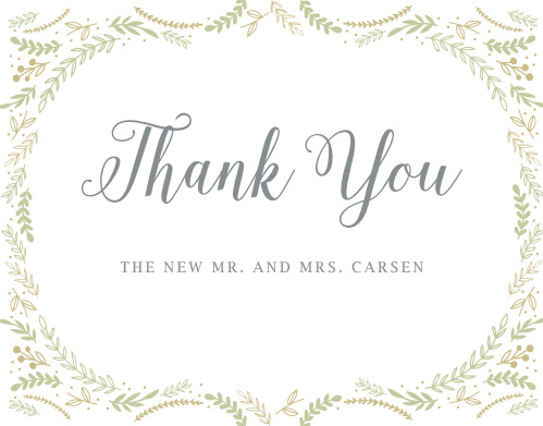 Finish your whimsical winter wedding with the Romantic Evergreen Thank You Cards.