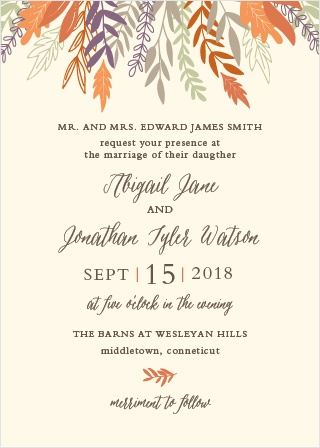 Autumn foliage descends from the top of the Fall Harvest Wedding Invitations.