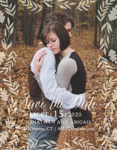 Autumn foliage surrounds your picture on the Fall Harvest Save-the-Date Magnets.